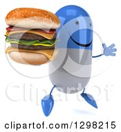 Clipart Of A 3d Happy Blue And White Pill Character Facing Slightly Right Jumping And Holding A Double Cheeseburger Royalty Free Illustration