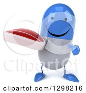 Clipart Of A 3d Happy Blue And White Pill Character Holding And Pointing To A Beef Steak Royalty Free Illustration