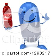 Clipart Of A 3d Happy Blue And White Pill Character Holding Up A Finger And A Soda Bottle Royalty Free Illustration