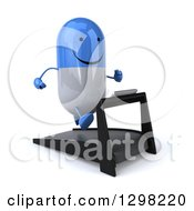 Clipart Of A 3d Happy Blue And White Pill Character Running On A Treadmill Royalty Free Illustration
