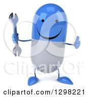 Clipart Of A 3d Happy Blue And White Pill Character Holding A Wrench And Giving A Thumb Up Royalty Free Illustration