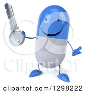 Clipart Of A 3d Happy Blue And White Pill Character Shrugging And Holding A Key Royalty Free Illustration