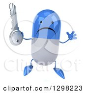 Clipart Of A 3d Unhappy Blue And White Pill Character Jumping And Holding A Key Royalty Free Illustration
