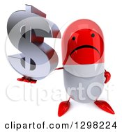 Clipart Of A 3d Unhappy Red And White Pill Character Holding Up A Dollar Currency Symbol Royalty Free Illustration