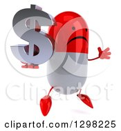 Clipart Of A 3d Unhappy Red And White Pill Character Facing Right Jumping And Holding A Dollar Currency Symbol Royalty Free Illustration
