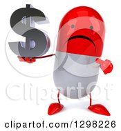 Clipart Of A 3d Unhappy Red And White Pill Character Holding And Pointing To A Dollar Currency Symbol Royalty Free Illustration