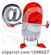 Clipart Of A 3d Happy Red And White Pill Character Holding An Email Arobase At Symbol And Thumb Up Royalty Free Illustration