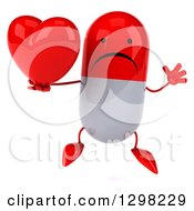 Clipart Of A 3d Unhappy Red And White Pill Character Holding A Heart And Jumping Royalty Free Illustration