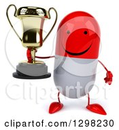 Clipart Of A 3d Happy Red And White Pill Character Holding A Trophy Royalty Free Illustration