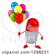 Clipart Of A 3d Unhappy Red And White Pill Character Holding Party Balloons Royalty Free Illustration