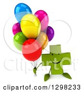 Clipart Of A 3d Happy Green Naturopathic Cross Character Holding Up Party Balloons Royalty Free Illustration