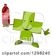 Clipart Of A 3d Happy Green Naturopathic Cross Character Shrugging And Holding A Soda Bottle Royalty Free Illustration