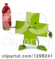 Clipart Of A 3d Unhappy Green Naturopathic Cross Character Holding A Soda Bottle Royalty Free Illustration
