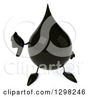 Clipart Of A 3d Oil Drop Character Holding Up A Thumb Down Royalty Free Illustration