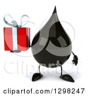 Clipart Of A 3d Oil Drop Character Holding A Gift Royalty Free Illustration