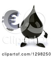 Clipart Of A 3d Oil Drop Character Holding A Euro Currency Symbol Royalty Free Illustration
