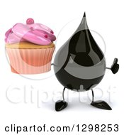 Clipart Of A 3d Oil Drop Character Holding A Pink Frosted Cupcake And Thumb Up Royalty Free Illustration