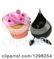 Clipart Of A 3d Oil Drop Character Holding Up A Pink Frosted Cupcake Royalty Free Illustration