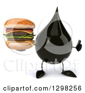 Clipart Of A 3d Oil Drop Character Giving A Thumb Up And Holding A Double Cheeseburger Royalty Free Illustration