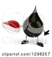 Clipart Of A 3d Oil Drop Character Shrugging And Holding A Beef Steak Royalty Free Illustration