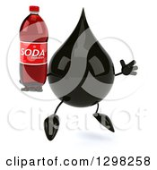 Clipart Of A 3d Oil Drop Character Facing Slightly Right Jumping And Holding A Soda Bottle Royalty Free Illustration