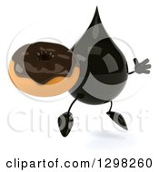 Clipart Of A 3d Oil Drop Character Facing Slightly Right Jumping And Holding A Chocolate Frosted Donut Royalty Free Illustration