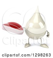 Clipart Of A 3d Milk Lotion Shampoo Or Liquid Soap Drop Character Holding A Beef Steak Royalty Free Illustration