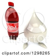 Clipart Of A 3d Milk Lotion Shampoo Or Liquid Soap Drop Character Holding Up A Soda Bottle Royalty Free Illustration