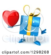 Clipart Of A 3d Blue Gift Character Shrugging And Holding A Heart Royalty Free Illustration