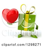 Clipart Of A 3d Green Gift Character Holding A Heart Royalty Free Illustration