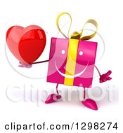 Clipart Of A 3d Pink Gift Character Shrugging And Holding A Heart Royalty Free Illustration
