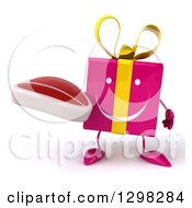 Clipart Of A 3d Happy Pink Gift Character Holding A Steak Royalty Free Illustration