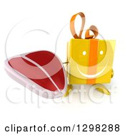 Clipart Of A 3d Happy Yellow Gift Character Holding Up A Steak Royalty Free Illustration