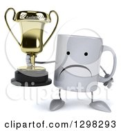 Clipart Of A 3d Unhappy Coffee Mug Holding A Trophy Royalty Free Illustration