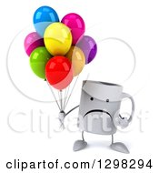 Clipart Of A 3d Unhappy Coffee Mug Holding And Pointing To Party Balloons Royalty Free Illustration