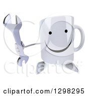 Clipart Of A 3d Happy Coffee Mug Holding Up A Wrench Royalty Free Illustration