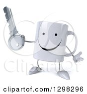 Clipart Of A 3d Happy Coffee Mug Shrugging And Holding A Key Royalty Free Illustration