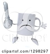 Clipart Of A 3d Unhappy Coffee Mug Jumping And Holding A Key Royalty Free Illustration