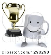 Clipart Of A 3d Happy Coffee Mug Holding And Pointing To A Trophy Royalty Free Illustration