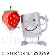 Clipart Of A 3d Happy Coffee Mug Holding Up A Finger And A Strawberry Royalty Free Illustration