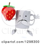 Clipart Of A 3d Unhappy Coffee Mug Jumping And Holding A Strawberry Royalty Free Illustration