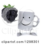 Clipart Of A 3d Happy Coffee Mug Giving A Thumb Up And Holding A Blackberry Royalty Free Illustration