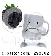 Clipart Of A 3d Happy Coffee Mug Holding And Pointing To A Blackberry Royalty Free Illustration