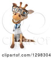 Clipart Of A 3d Happy Bespectacled Doctor Or Veterinarian Giraffe Smiling Over A Sign Board Royalty Free Illustration