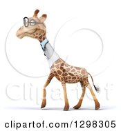 Clipart Of A 3d Bespectacled Doctor Or Veterinarian Giraffe Walking To The Left In Profile Royalty Free Illustration