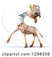 Clipart Of A 3d Happy Bespectacled Doctor Or Veterinarian Giraffe Walking To The Lef Tilting His Head Back And Laughing Royalty Free Illustration