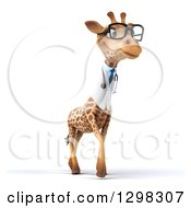 Clipart Of A 3d Bespectacled Doctor Or Veterinarian Giraffe Walking Slightly Right Royalty Free Illustration