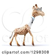 Clipart Of A 3d Happy Bespectacled Doctor Or Veterinarian Giraffe Walking To The Right In Profile Royalty Free Illustration