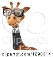 Clipart Of A 3d Bespectacled Business Giraffe Avatar Or Over A Sign Royalty Free Illustration