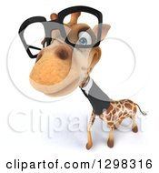 Clipart Of A 3d Bespectacled Business Giraffe Looking Up At The Viewer Royalty Free Illustration